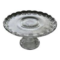 Vintage Pressed Glass Cake Stand / Vintage Kitchenware / Vintage Serving / Cake Plate / Serving Plate