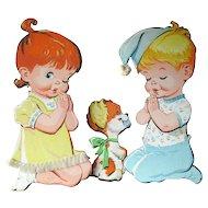Vintage Praying Children and Dog Nursery Wall Hanging / Baby Decor / Nursery Decor