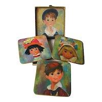 Big Eyed Children Coaster or Trivet Set by Win El Ware / Table Mats / England / 1950s Home Decor / Vintage Home Decor