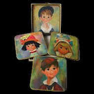 Big Eyed Children Coaster or Trivet Set by Win El Ware / Table Mats / England / 1950s Home Decor / Vintage Home Decor