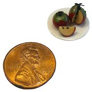 Dollhouse Food - Miniature Apples On Plate - Miniature Fruit