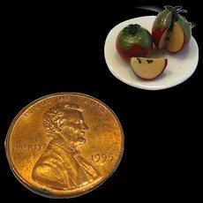Dollhouse Food - Miniature Apples On Plate - Miniature Fruit