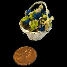 Miniature Wicker Basket With Dried Flowers - Miniature Dollhouse Basket