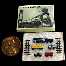 Miniature Train Set In Box - Dollhouse Miniature Toy - Dollhouse Train Set - Miniature Toys