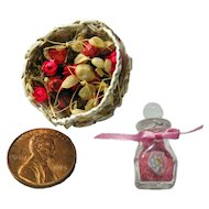 Miniature Dollhouse Set Flower Basket and Bath Salts Jar - Dollhouse Bathroom Accessories