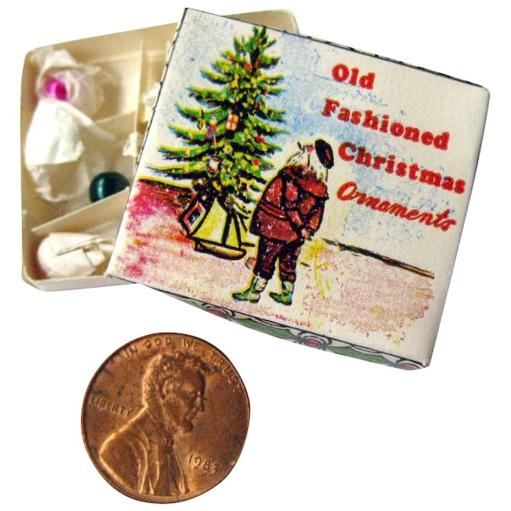 dollhouse christmas ornaments in box miniature christmas decor doll house miniatures - Miniature Christmas Decorations For Dollhouses