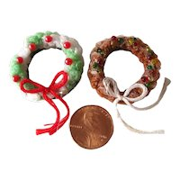 Miniature Dollhouse Christmas Wreaths For Fairy Garden - Dolls House Holiday Decor