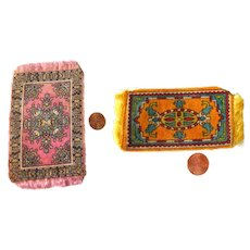 Two Miniature Dollhouse Carpets - Tobacco Silks and Felts - Miniature Rugs For Dolls House