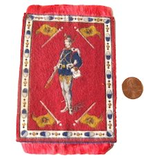 Cigarette Silkie With Algerian Soldier - Dollhouse Miniature Rug - Tobacciana Silks and Felts