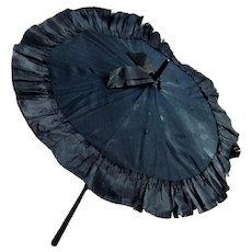 Antique Doll Parasol With Silk Ribbon Edge - Childs Umbrella - Fashion Doll Size Folding Umbrella - 22 Inch Doll Parasol