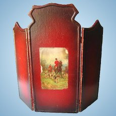 Wooden Miniature Doll Tri Fold Screen With Hunting Scene - Dollhouse Miniatures - Dolls House Accessories