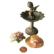 Miniature Garden Set With Miniature Fountain and Roses - Fairy Garden - Dollhouse Miniature Garden