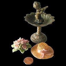 Miniature Garden Set With Miniature Fountain and Roses - Fairy Garden - Dollhouse Miniature Garden