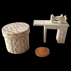 Miniature Sewing Machine and Hat Box - Dollhouse Miniatures - Dolls Sewing Room - Dolls House Miniature Furniture
