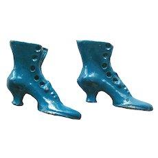 Miniature Blue Shoes Metal Victorian Button Up Boots Miniature Shoes Dollhouse Accessories