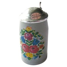 Tiny German Beer Stein With Tilting Lid Plastic Beer Mug With Floral Decal Dollhouse Miniatures