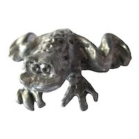 Miniature Pewter Frog Dollhouse Miniature Garden Frog Collector Gift