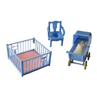 Renwal Nursery Set With Playpen Stroller and Potty Chair Miniature Furniture Dollhouse Furniture Dolls House Nursery