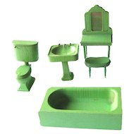 Vintage Primitive Green Wood Bathroom Dollhouse Furniture Dolls House Dressing Table Miniature Bathroom