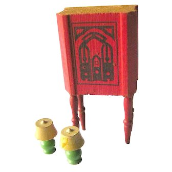 Wood Dollhouse Furniture Radio and Two Lamps Miniature Furniture Dolls House Furniture