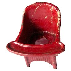 Kilgore Cast Iron Potty Chair Miniature Dollhouse Chair Dolls House Bathroom Furniture