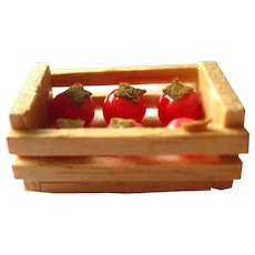 Miniature Tomato Crate Dollhouse Miniatures Miniature Farm Decor Dolls House Food