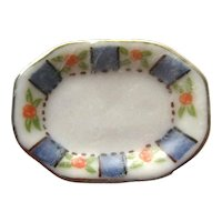 Dollhouse China Plate With Hand Painted Design Miniature Serving Dish