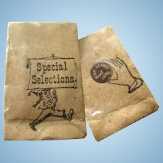 Miniature Grocery Bags Set of 3 - Dollhouse Brown Bags - Dolls House Accessories