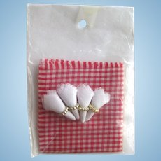 Miniature Napkins With Napkin Rings and Gingham Tablecloth Dollhouse Kitchen