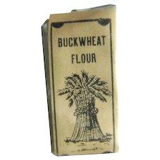NOS Miniature Buckwheat Flour Sack Dollhouse Grocery Store Mini Food