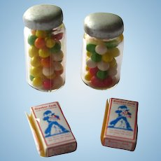 Miniature Candy Set With Cracker Jacks and Glass Jars of Candy Dollhouse Accessories