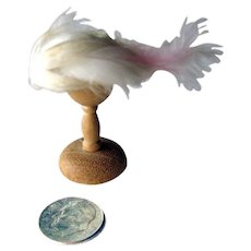 Miniature Hat and Hat Stand - Feathered Straw Hat - Miniature Hat and Stand - Dollhouse Clothing Shop