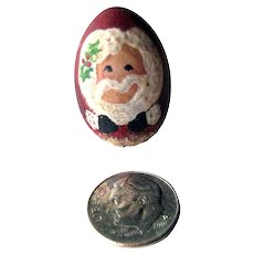 Miniature Hand Painted Santa Egg Vintage Christmas Decor - Dollhouse Holiday Decoration