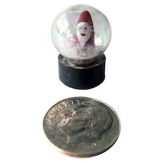Dollhouse Snow Globe with Santa and White Glitter - Vintage Miniature Christmas - Dollhouse Miniatures