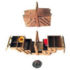 Dollhouse Sewing Box - Miniature Accordion Sewing Box With Accessories