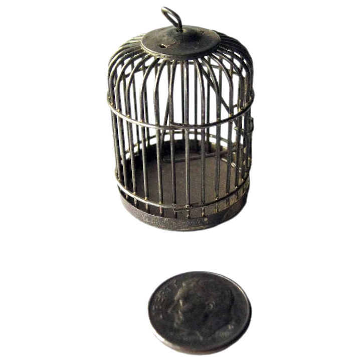 IRON WIRE BIRD CAGE DOLLHOUSE FURNITURE MINIATURES