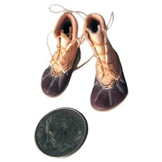 Handmade Miniature Leather Work Boots For Miniature Cabin or Dollhouse - Rubber Soled and Leather Dollhouse Shoes