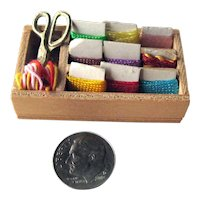 Dollhouse Thread Box with Carded Thread and Metal Scissors - Miniature Sewing Accessories