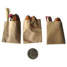 Set of Three Miniature Grocery Bags With Bread and Other Items - Artist Made Dollhouse Grocery Bags