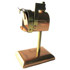 Miniature Copper and Brass Mailbox - Dollhouse Miniatures - Vintage Post Box - Collectible Miniatures
