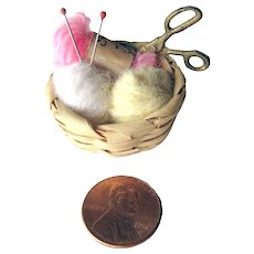 Dollhouse Sewing Basket With Knitting Needles Yarn and Scissors - Miniature Sewing Basket