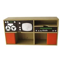 Miniature Entertainment Center by Fisher Price - Miniature Furniture - Dollhouse Collectibles