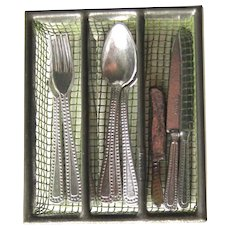 Miniature Table Silverware In Wire Mesh Tray - Dollhouse Miniatures - Vintage Toys