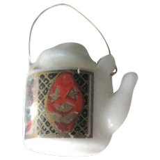 Dollhouse Tea Pot With Japanese Style Decoration NOS - Miniature Teapot