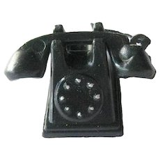 Miniature Telephone With Cradle - Vintage Dollhouse Furniture - Doll House Accessory