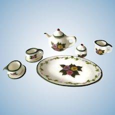 Miniature Transferware Porcelain Tea Set - Dollhouse Miniature Tea Set
