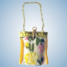 Miniature Tapestry Purse For Dollhouse or Purse Collector - Dollhouse Miniatures