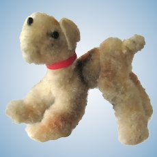 Miniature Chenille Airedale Dog With Collar - Dollhouse Display - Miniature Dogs