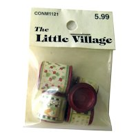 Dollhouse Miniature Cannister Set With Vegetable Labels - NOS Doll House Miniatures