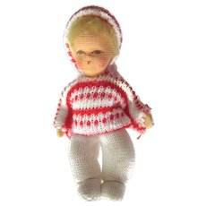 Cloth Baby Doll With Bendable Arms and Legs - Vintage Dollhouse Doll - Miniature Cloth Doll - Dollhouse Baby